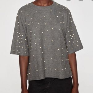 Zara soft charcoal sweater with pearls